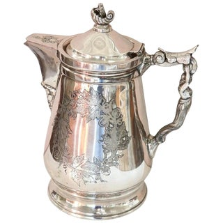 19th Century American Antique Silver Plate Pitcher or Coffee Pot by Wilcox For Sale