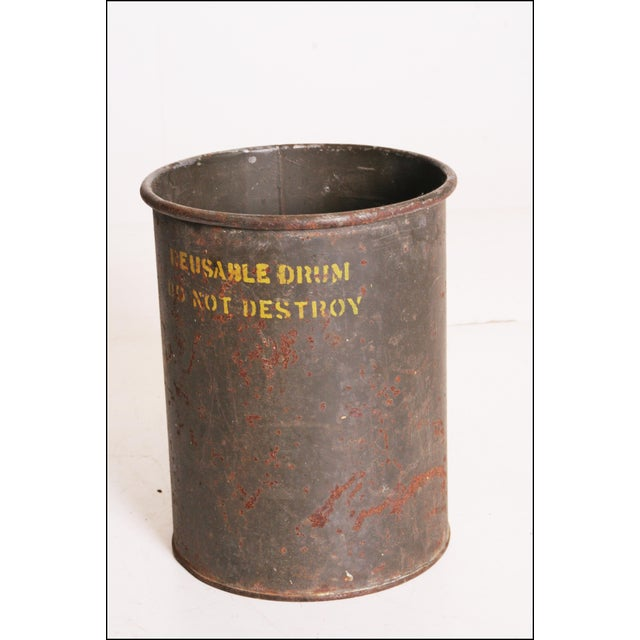 Vintage Industrial Green Metal Military Can - Image 2 of 11