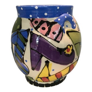 Vintage Hand-Painted and Glazed Ceramic Jar For Sale