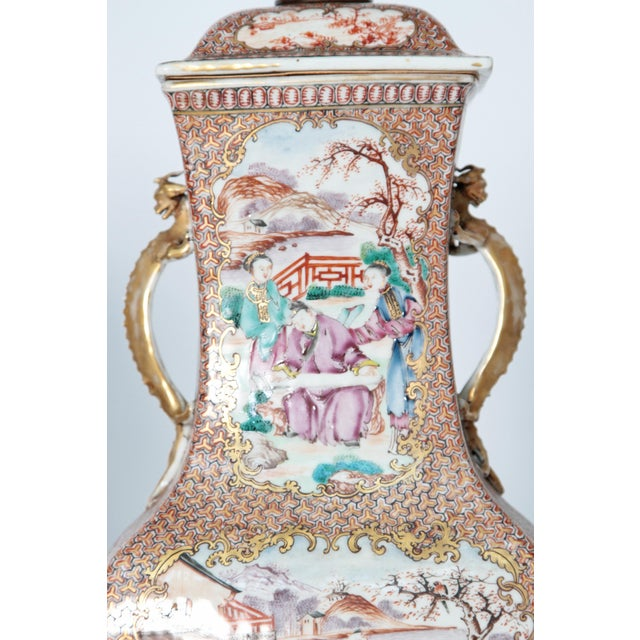 Pair of Early 19th Century Chinese Export Rose Mandarin Porcelain Jars as Lamps For Sale - Image 11 of 13