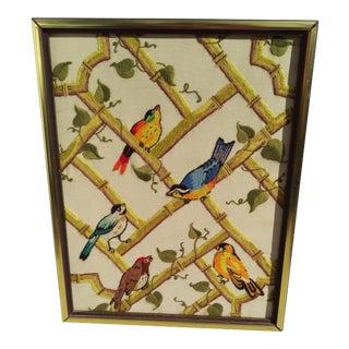 Vintage Crewel Embroidery Songbirds