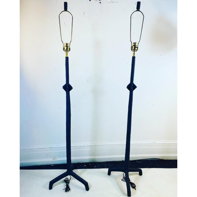 Brutalist Metal Lamps Designed by Alberto Giacometti Composed of Textured ,Patinated Steel With a Blackened Bronze Patina....