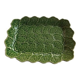 1980s Bordallo Pinheiro Square Green Leaf Majolica Platter For Sale