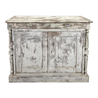 19th Century Rustic Neoclassical Painted Store Counter
