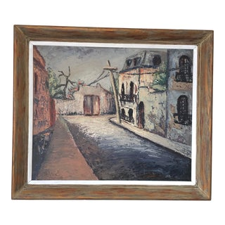 Mid 20th Century Street Scene Oil Painting, Framed For Sale