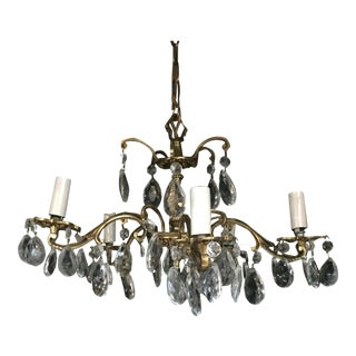 Vintage Brass & Crystal Chandelier