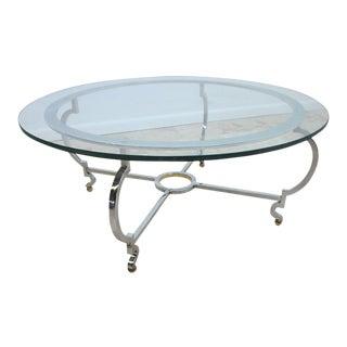 John Stuart Chrome & Steel Round Coffee Table For Sale