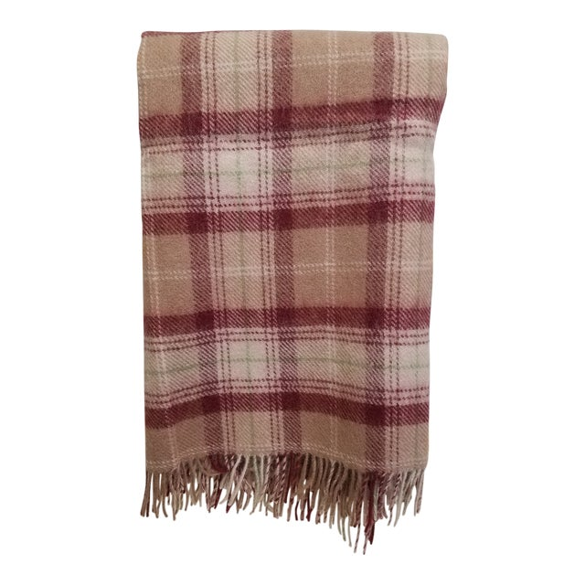 Wool Throw Green, Red, Brown and White in a Plaid Design - Made in England For Sale