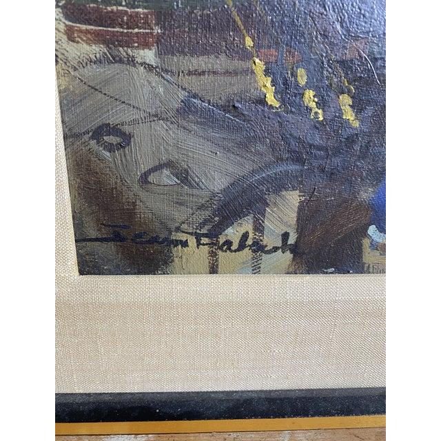 French Mid 20th Century French Brutalist Style Oil Painting, Framed For Sale - Image 3 of 7