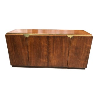 Walnut and Gold Gilted Credenza by Baker Furniture For Sale