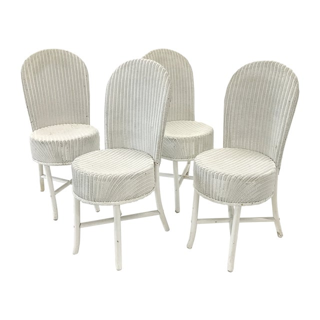 1950s Woven Lloyd Loom Chairs — Set of 4 For Sale