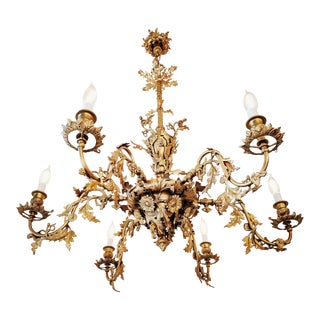 19th Century Victorian Gasolier Cast Brass Antique Chandelier For Sale