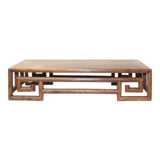 Yellowish Brown Wood Scroll Rectangular Table Top Stand Display Easel For Sale