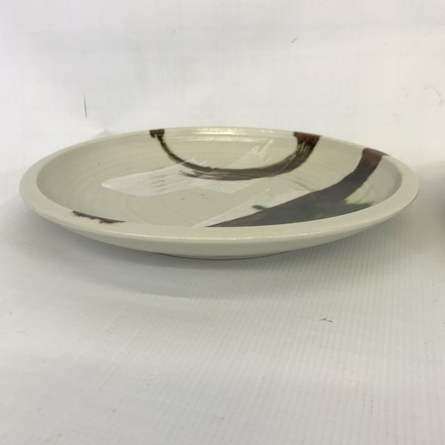 Painted Art Pottery Plates - a Pair For Sale - Image 4 of 7