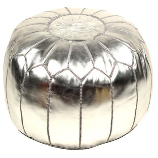 Faux Metallic Leather Pouf-Silver (Stuffed)