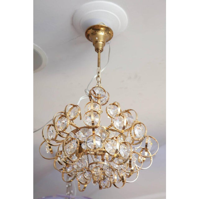 Brass Glamorous Petite Vintage Palwa Chandelier For Sale - Image 7 of 7