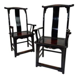 C. 1860 Antique Chinese Black Lacquer Yoke Back Chairs - A Pair