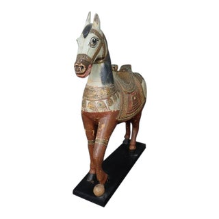 Late 19th Century Antique Middle Eastern Carved Horse Figurine For Sale