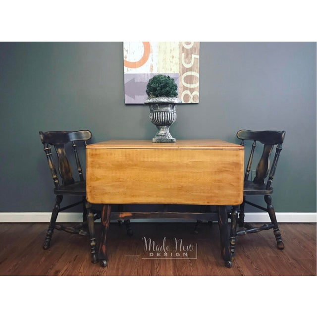 Black Distressed Drop Leaf Dining Table & Chairs - Set of 3 - Image 4 of 11