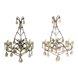 1890 Italia Venezia Sconces With Crystals - a Pair For Sale