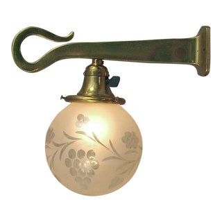 Single Art Nouveau Wall Sconce, Solid Brass, Etched Ball Shade For Sale