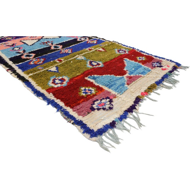 Abstract Vintage Berber Moroccan Boucherouite Rug For Sale - Image 3 of 4