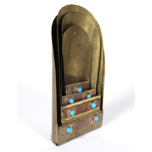 Persian Brass & Copper Measuring Scoops With Faux Turquoise Accents, Set of 4 For Sale - Image 4 of 5