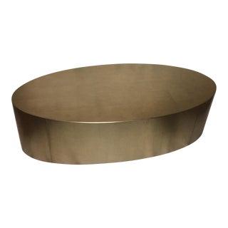 Hollywood Regency Gold Leaf Oval Coffee Table