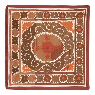 Neutral Brown Colorful Suzani Table Cloth - Tribal Embroidery Wall Decor For Sale