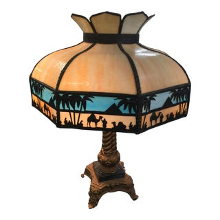 Antique Slag Glass Lamp Egyptian Theme Circa 1920 For Sale