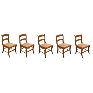 1960s Vintage Duncan Phyfe Style Dining Side Chairs- Set of 5 For Sale