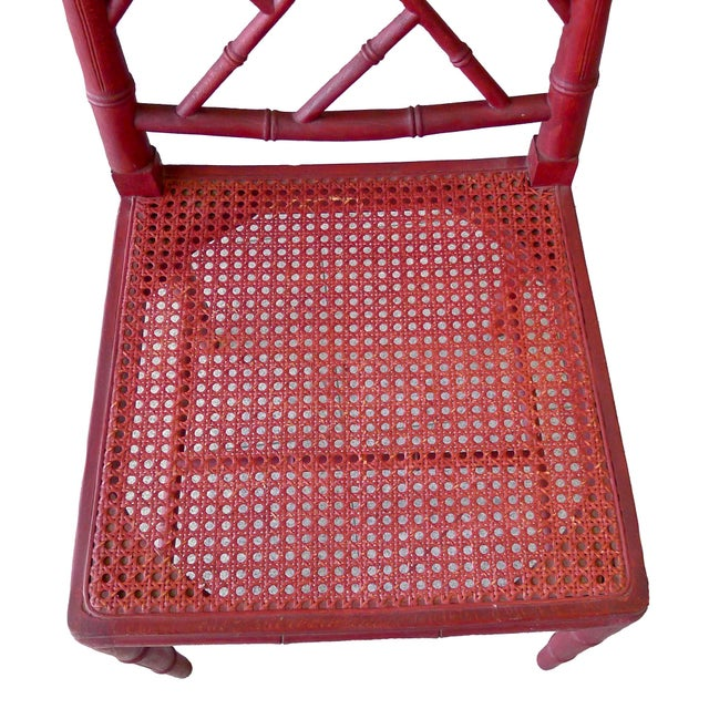 1960s Red Chinoiserie Bamboo-Style Chair - Image 5 of 7