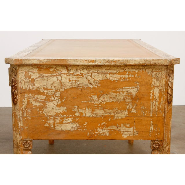 Mid 20th Century Neoclassical Leather Top Desk With Scraped Lacquer Finish For Sale - Image 5 of 13