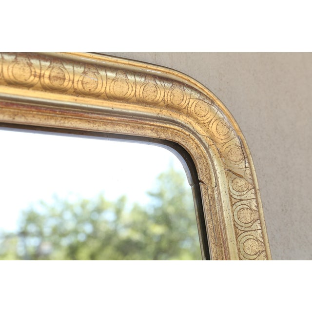 Late 19th Century 19th Century French Louis Philippe Carved Gilt Mirror With Original Glass For Sale - Image 5 of 12