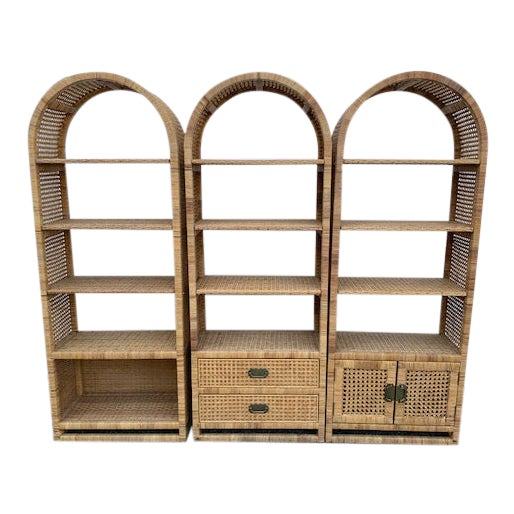 1970's Bielecky Style Rattan and Brass Bookshelves-Set of 3 For Sale