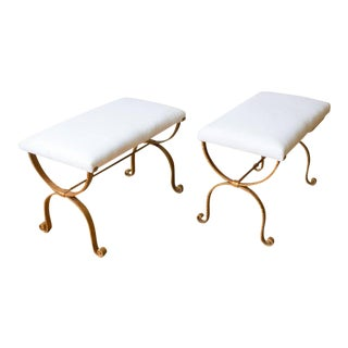 1950s Neoclassical Gilt Iron Benches - a Pair For Sale
