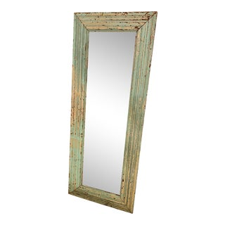 Antique Shabby Chic Beveled Floor Mirror For Sale