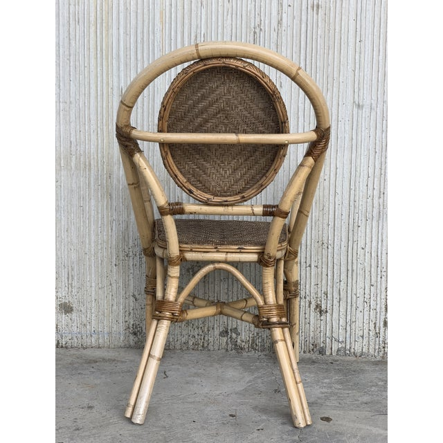 1960s Pair of Spanish Bamboo Armchairs With Ovaled Back Rest For Sale In Miami - Image 6 of 10