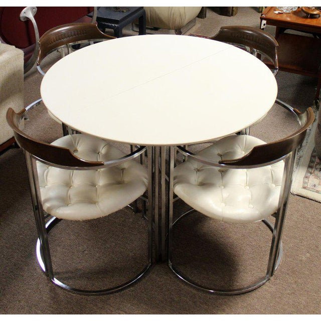 Daystrom 1970s Mid-Century Modern Daystrom Chrome Wood Laminate Dinette Set For Sale - Image 4 of 13