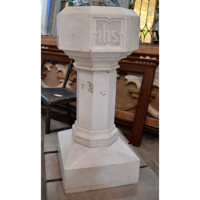Gothic Carrara Marble Baptismal Font For Sale - Image 3 of 4