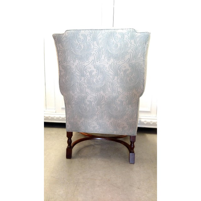 Vintage Wingback Chair with Wood Legs For Sale - Image 4 of 9