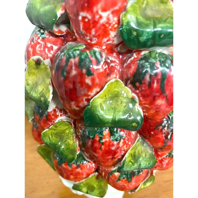Red Vintage Italy Majolica Topiary Centerpiece For Sale - Image 8 of 9
