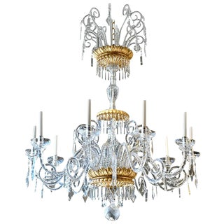 Italian Neoclassical Giltwood and Crystal Chandelier For Sale