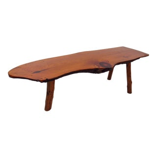 Mid-Century Rustic Tree Trunk Coffee Table For Sale