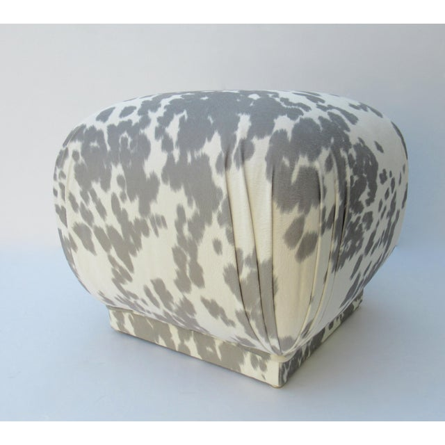 Contemporary Vintage C.1970s Karl Springer Souffle' Pouf Ottoman in a Nova Suede Pony Hide Spotted Textile For Sale - Image 3 of 13