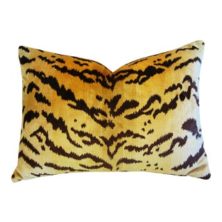 Italian Scalamandre Le Tigre Tiger Stripe & Mohair Pillow