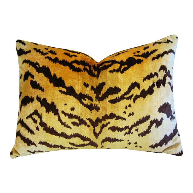 Italian Scalamandre Le Tigre Tiger Stripe & Mohair Pillow - Image 1 of 5