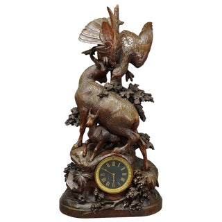 Antique Mantel Clock With Eagle and Chamois Family, Ca. 1900 For Sale