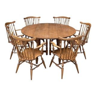 Ethan Allen Walnut Drop Leaf Table and 6 Windsor Captains Chairs - 7 Pieces For Sale