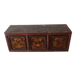 Antique Lillian August Hand Painted Chinoiserie Trunk Chest For Sale